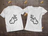 Tricou HE's and SHE's MINE, L, M, XL, XXL, Alb, Negru, Bumbac