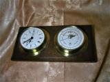 Cumpara ieftin Nautica! Placheta ceas barometru, alama, lemn tek, colectie, cadou