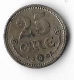 Moneda  25 ore 1913 - Danemarca, 2,42 g argint 0,6000, cotatii ridicate!, Europa