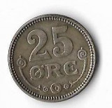 Moneda  25 ore 1919 - Danemarca, 2,42 g argint 0,6000, cotatii ridicate!, Europa
