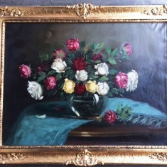 Tablou natura statica cu florii -  Un cadou frumos pentru 8 martie !, Flori, Ulei, Impresionism