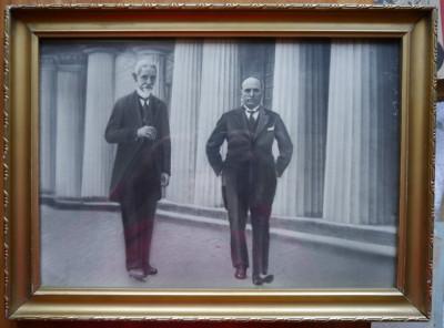Fotografie mare , Averescu si Mussolini , pe spatele tabloului , autograf Groza foto