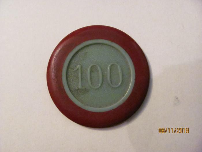 Jeton 100 Cazinoul Sinaia / Persoana Juridica / Cerc Autorizat / plastic tare