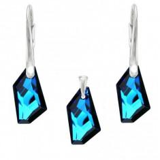 Set argint, Set Swarovski Crystals Art Electric Blue + CADOU Laveta profesionala pentru curatat bijuteriile din argint + Cutie Cadou