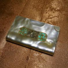 Port card bachelita sidefata Mid Century Modern colectie cadou vintage