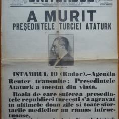 Ziarul Universul , editie speciala , 10 Nov. 1938 ;Moartea presedintelui Ataturk