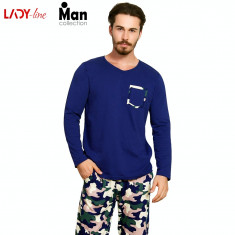 Pijama Barbati Vienetta, Model Camouflage, Cod 2042, Albastru, L, M, S, XL