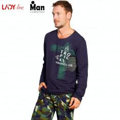 Pijama Barbati Vienetta, Model Tropical Camouflage, Cod 2192, Albastru, L, M, S, XL