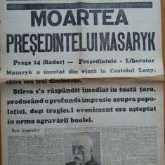 Ziarul Universul , editie speciala ,14 Sept. 1937 ;Moartea Presedintelui Masaryk