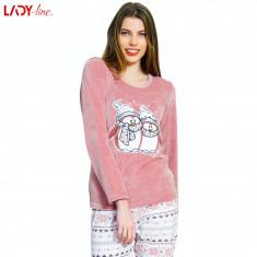 Pijama Plusata din Velur, Model Winter Friends, Vienetta, Cod 2188, L, M, S, XL, Roz