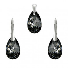 Set argint, Set Swarovski Pear Silver Night 22mm + CADOU Laveta profesionala pentru curatat bijuteriile din argint + Cutie Cadou