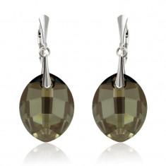 Cercei argint, Cercei Swarovski Leaf Iridescent Green + CADOU Laveta profesionala pentru curatat bijuteriile din argint + Cutie Cadou