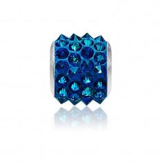 Accesoriu bratara, Charm Swarovski Pave Electric Blue + CADOU Laveta profesionala pentru curatat bijuteriile din argint + Cutie Cadou
