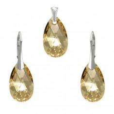 Set argint, Set Swarovski Pear Gold 22mm + CADOU Laveta profesionala pentru curatat bijuteriile din argint + Cutie Cadou
