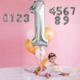 Balon folie cifra, model gigant, culoare argintiu, inaltime 76 cm