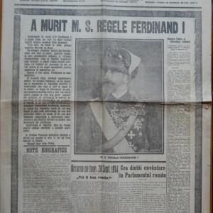Ziarul Universul , editie speciala , 21 Iulie 1927 ; Moartea Regelui Ferdinand