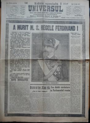Ziarul Universul , editie speciala , 21 Iulie 1927 ; Moartea Regelui Ferdinand foto