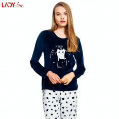 Pijama Plusata din Velur, Model Happy Family Blue, Vienetta, Cod 2168