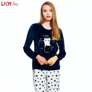 Pijama Plusata din Velur, Model Happy Family Blue, Vienetta, Cod 2168