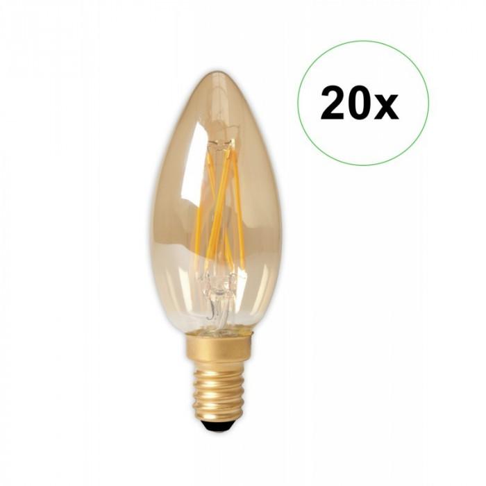 LED Filament E14 240V 3.5W 200lm B35, Gold 2100K D Set 20 Bucăți