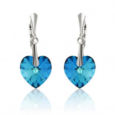 Cercei argint, Cercei Swarovski Passion Electric Blue + CADOU Laveta profesionala pentru curatat bijuteriile din argint + Cutie Cadou
