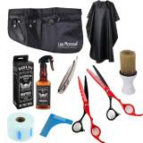 Set kit frizerie coafor profesional foarfeca tuns filat brici pulverizator manta