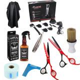 Set kit frizerie coafor complet barbati foarfeca tuns filat brici masina contur