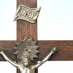 Cruce mare si veche din lemn esenta tare Crucifix de masa INRI, crucifix 31cm