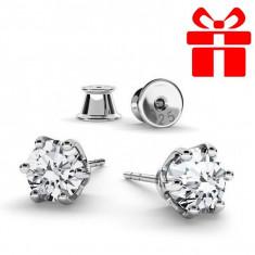 Cercei Argint.925, Cercei SWAROVSKI Crystals Zirconia + CADOU Laveta profesionala pentru curatat bijuteriile din argint + Cutie Cadou