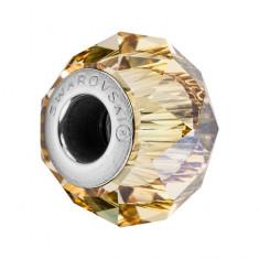 Accesoriu bratara, Charm Swarovski Briolette Gold + CADOU Laveta profesionala pentru curatat bijuteriile din argint + Cutie Cadou