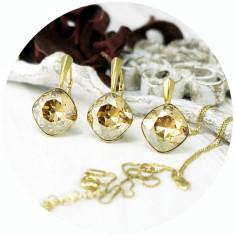 Set bijuterii argint suflat cu aur 24k, Set Swarovski Square Gold + CADOU Laveta profesionala pentru curatat bijuteriile din argint + Cutie Cadou