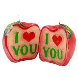 Lumanare decor Love Apple, ceara, diametrul 9 cm