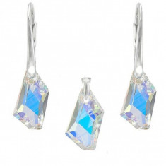 Set argint, Set Swarovski Crystals Art Aurora Boreala + CADOU Laveta profesionala pentru curatat bijuteriile din argint + Cutie Cadou