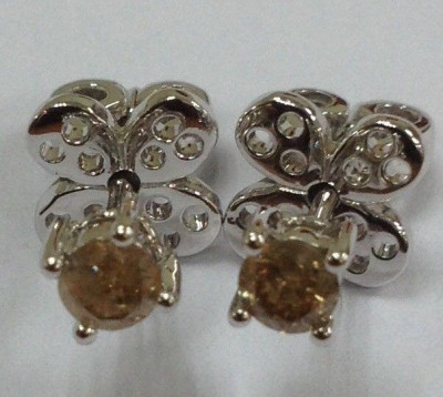 cercei argint diamante champagne 0.34 ct foto