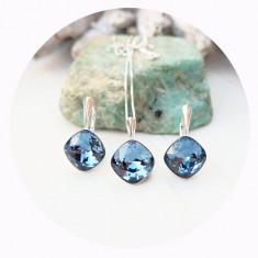 Set bijuterii argint, Set Swarovski Square Denim + CADOU Laveta profesionala pentru curatat bijuteriile din argint + Cutie Cadou