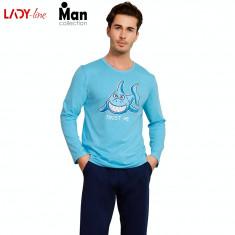 Pijama Barbati Vienetta, Model Trust Me Blue, Cod 2191, Albastru, L, M, S, XL