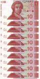 CROATIA lot 10 buc. X 10 dinara 1991 UNC!!!