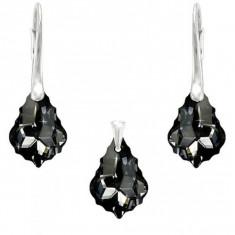 Set argint, Set Swarovski Crystals Baroque Night + CADOU Laveta profesionala pentru curatat bijuteriile din argint + Cutie Cadou