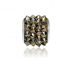 Accesoriu bratara, Charm Swarovski Pave Metallic Gold + CADOU Laveta profesionala pentru curatat bijuteriile din argint + Cutie Cadou
