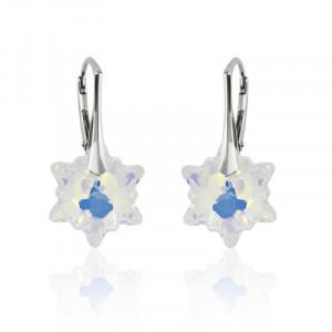 Cercei argint, Cercei Swarovski Edelweiss Aurora Boreala + CADOU Laveta profesionala pentru curatat bijuteriile din argint + Cutie Cadou