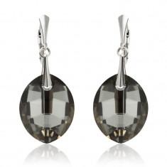 Cercei argint, Cercei Swarovski Leaf Night + CADOU Laveta profesionala pentru curatat bijuteriile din argint + Cutie Cadou