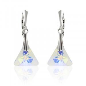 Cercei argint, Cercei Swarovski Triangle Aurora Boreala + CADOU Laveta profesionala pentru curatat bijuteriile din argint + Cutie Cadou
