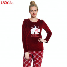 Pijama Plusata din Velur, Model Let's Go On An Adventure, Vienetta, Cod 2189, L, Visiniu