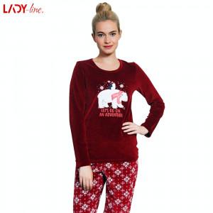 Pijama Plusata din Velur, Model Let's Go On An Adventure, Vienetta, Cod 2189