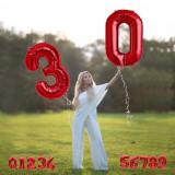 Balon folie cifra rosu metalizat, inaltime 46 cm, pentru aniversare