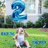 Balon folie cifra mare, albastru metalizat, 46 cm, pentru aniversari
