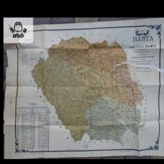 Harta judetului Neamt 1914 - Capitanul Dimitrie Visinat  cromolitografie