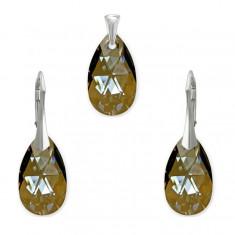 Set argint, Set Swarovski Pear Bronze 22mm + CADOU Laveta profesionala pentru curatat bijuteriile din argint + Cutie Cadou