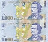 Bancnota Romania 1.000 Lei 1998 - P106 UNC (2 buc. consec. - filigran BNR mic)