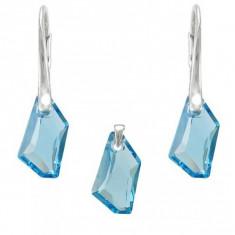 Set argint, Set Swarovski Crystals Art Aquamarine + CADOU Laveta profesionala pentru curatat bijuteriile din argint + Cutie Cadou